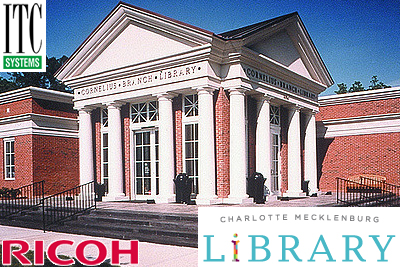ITC Systems, RICOH and the Charlotte Mecklenburg Public Library:  Pay for Copies and Prints using Coins, Bills & Credit/Debit Cards!